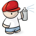 Cartoon Man Holding Spray Can Royalty Free Stock Photography