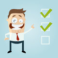 Cartoon man with important checklist funny illustration of a Royalty Free Stock Image