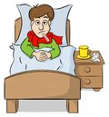 Cartoon man lying in bed with fever Royalty Free Stock Photo