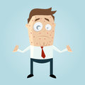 Cartoon man with measles funny illustration of a Royalty Free Stock Photography