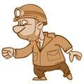 Cartoon man miner goes