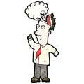 Cartoon man with overheated brain Stock Photography
