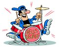 Cartoon man playing drums Royalty Free Stock Photo