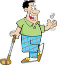 Cartoon man playing golf Stock Image