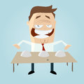 Cartoon man playing shell game funny illustration of a Royalty Free Stock Image