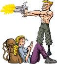 Cartoon man protecting his girlfriend Royalty Free Stock Photo