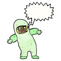 Cartoon man in radiation suit Stock Images