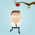Cartoon man reaching out for an apple illustration of a Royalty Free Stock Photos