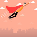 Cartoon man with red cape flying over city illustration of a Royalty Free Stock Photo