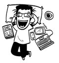 Cartoon man relax
