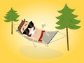 Cartoon man relaxing with hammock illustration of a Stock Image