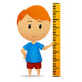 Cartoon man with ruler straightedge Stock Photography