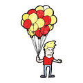 Cartoon man selling balloons retro with texture isolated on white Stock Images