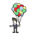 Cartoon man selling balloons retro with texture isolated on white Royalty Free Stock Image