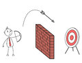 Cartoon man shooting arrow over a wall hitting a target board Royalty Free Stock Photo