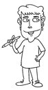 Cartoon man sketch illustration of a smiling holding wacom pen Royalty Free Stock Photo