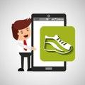 Cartoon man smartphone app running