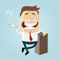 Cartoon man is smoking funny illustration of a Royalty Free Stock Photography