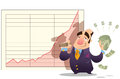 A cartoon man standing satisfied in front of a stock market diagram holding many dollars Royalty Free Stock Photography