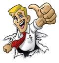 Cartoon man thumb up Royalty Free Stock Photo