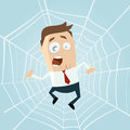 Cartoon man trapped in spiderweb funny illustration of a Stock Photos