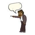 Cartoon man trembling with key unlocking with speech bubble Royalty Free Stock Photos