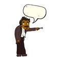 Cartoon man trembling with key unlocking with speech bubble Royalty Free Stock Image
