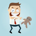 Cartoon man with voodoo doll funny illustration of a Royalty Free Stock Photo