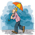 Cartoon of a man walking in the rain Stock Photos