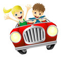Cartoon man and woman in car young having fun driving a red convertible Royalty Free Stock Photos