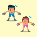 Cartoon man and woman doing dumbbell bent over lateral raise exercise