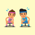 Cartoon man and woman doing dumbbell concentration curl exercise Royalty Free Stock Photo