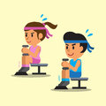 Cartoon man and woman doing dumbbell seated calf raise exercise Royalty Free Stock Photo
