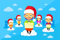 Cartoon Man and Woman New Year Christmas Santa Hat