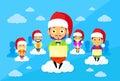 Cartoon Man and Woman New Year Christmas Santa Hat Royalty Free Stock Photo
