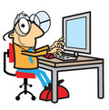Cartoon man working at computer Royalty Free Stock Photo