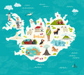 Cartoon map of Iceland for kid and children Royalty Free Stock Photo