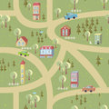 Cartoon map seamless pattern of summer city vector cityscape Stock Photography