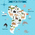 Cartoon map of South America continent with different animals.