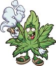 Cartoon marijuana plant smoking a joint