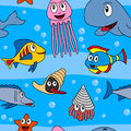 Cartoon marine animals seamless a cute pattern with in the sea eps file available Royalty Free Stock Photography