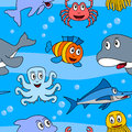 Cartoon marine animals seamless a cute pattern with in the sea eps file available Royalty Free Stock Photos