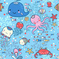 Cartoon marine seamless pattern for childish wallpapers. Royalty Free Stock Photo