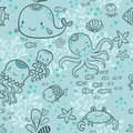 Cartoon marine seamless pattern for childish. Royalty Free Stock Photo