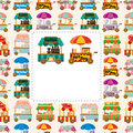 Cartoon market store car card Royalty Free Stock Photos
