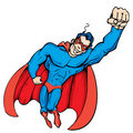Cartoon masked superhero flying up Royalty Free Stock Images