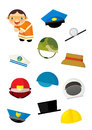 Cartoon matching game with finding proper hats to occupation - road worker