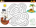 Cartoon maze activity with pirate and treasure