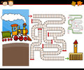 Cartoon maze or labyrinth game illustration of education for preschool children with cute steam engine train and railways Royalty Free Stock Photos