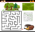 Cartoon maze or labyrinth game illustration of education for preschool children with funny hedgehog animal Stock Photo